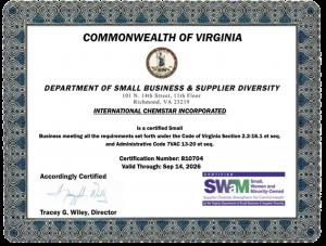 Chemstar WATER SWaM Certification